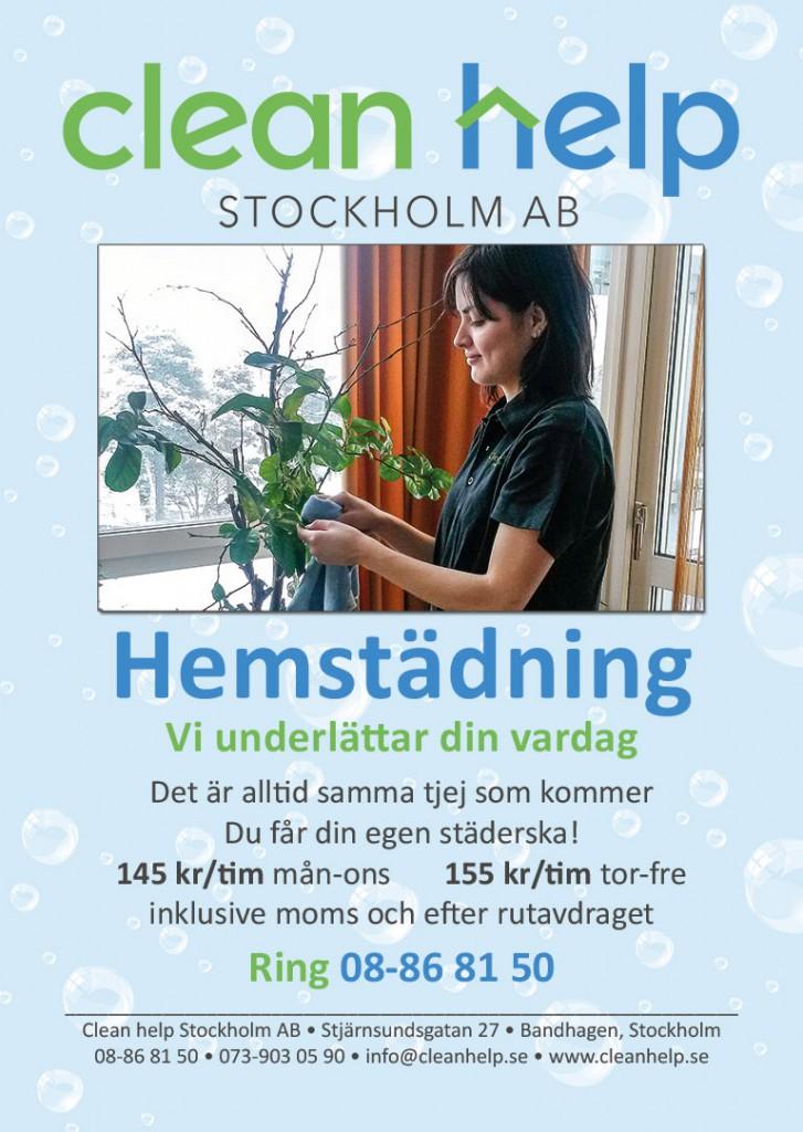 Hemstädning från 145 kronor i timmen inklusive moms och rutavdrag. Kontakta oss Clean help Stockholm, telefon 08-86 81 50, e-post info@cleanhelp.se