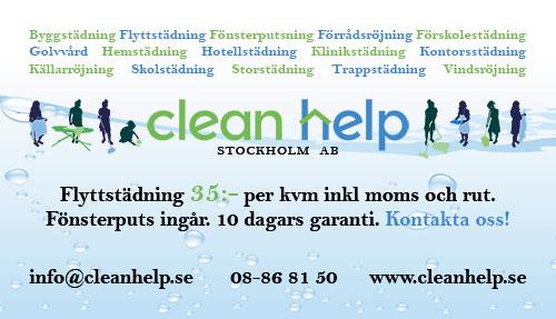 Flyttstädning 35 kronor per kvadratmeter inklusive moms och rutavdrag. Kontakta oss Clean help Stockholm, telefon 08-86 81 50, e-post info@cleanhelp.se