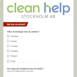 Jobbansökan till Clean help